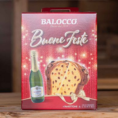 Włoska babka panettone z migdałami + białe wino - Balocco