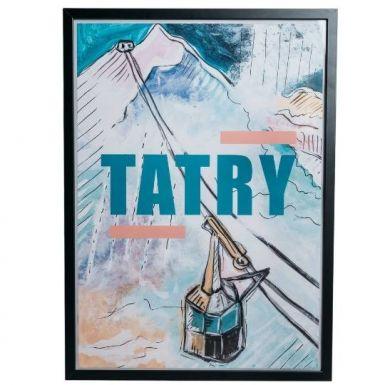 Pamiątkowy plakat z Tatr przedstawiający kolejkę na Kasprowy Wierch